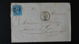France - Lettre Enveloppe - GC 1712 Sur 20c Bleu Napoléon III N°22 - Année 1865 - 1849-1876: Classic Period