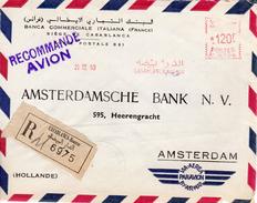 1960Registered Airmail Envelope From CASABLANCA - Bourse   To Amsterdam - Marokko (1956-...)