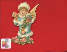 Jolie Chromo Découpis  Angelot 10 Cm De Hauteur Roses - Anges