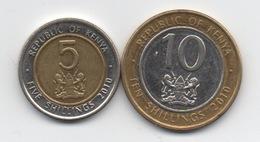 Kenya : Lot De 2 Pièces 2010 BIMETAL TBE : 5 Shillings & 10 Shillings - Kenya
