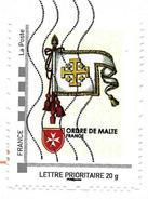 MonTimbraMoi MTM (2013) Ordre De Malte Bannière. Order Of Malta Coat Of Arms. Croix De Jérusalem. Lettre Prioritaire 20g - France