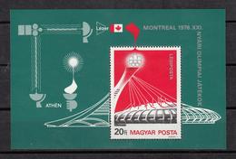 HUNGRIA 1976 - HUNGARY - HONGRIE - OLYMPICS MONTREAL 76 - YVERT BLOCK  Nº 125** - Verano 1976: Montréal