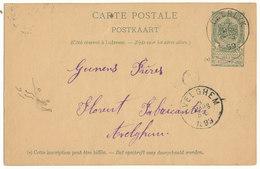 1899 CARTE POSTALE TYPE OBP56 VAN DEERLYK NAAR  AVELGHEM AANKOMSTSTEMPEL - Entiers Postaux