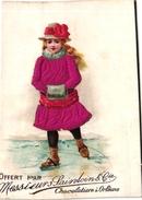 5 Cards Ice-Skating Patinage Sur Glace Eislaufen PUB Choc ORLEANS Silk Soie Fabr France Wirtz Gand Brunet Paris - Sports D'hiver