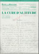 LETTRE COMMERCIALE DE 1938 LA CURE D ALTITUDE TURISTIC HOTEL LES MICHALLONS SAINT NIZIER DU MOUCHEROTTE : - France