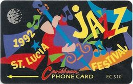 St. Lucia - Jazz Festival 92 - 10 EC$, 8CSLA - 1992, 2.983ex, Used - Saint Lucia
