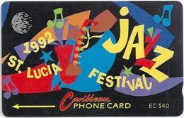 St. Lucia - Jazz Festival 92 - 40 EC$, 8CSLC - 1992, 2.983ex, Used - Saint Lucia