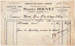 VP9510 - Facture - Transports - Messageries Du Jura Maurice BOUVET à SAINT CLAUDE ( Jura ) - Transport