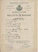 ILLIERS MAIRIE BULLETIN DE MARIAGE M ROUSSELET AVEC CACHET DE LA MAIRIE ANNEE 1922 - Sin Clasificación