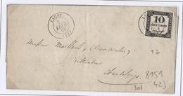 Taxe N°2 (10c Typo) Obl CaD T15 Lagny Sur Lettre De 1860, Répété à Côté - Taxes