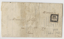 Taxe N°1 (10c Litho) Obl CaD T15 Tours (1859), Cachet Noir Avec Aigle Au Verso - Signé Calves - Taxes