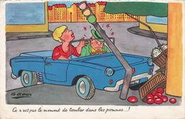 CPSM Accident De Voiture Tomber Dans Les Pommes Feux Tricolores Légumes Illustrateur G GOUX - Andere Illustrators