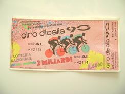 1990   GIRO D'ITALIA 1990  SPORT  CICLISMO   ITALIA 90  BIGLIETTO LOTTERIA NAZIONALE  COME DAFOTO LOTTERY TICKET - Lottery Tickets