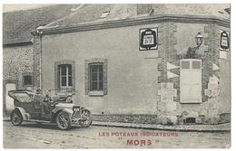"""Carte Publicitaire Indicateurs MORS  - Belle Automobile Ancienne Devant Un Panneau """"Étampes 29km"""" - Publicité"""