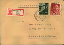 """1942, Einschreiben Ab WARSCHAU C1 Mit Absender """"""""Heim. Vet. Park 23"""""""" Nach Friedberg. - Besetzungen 1938-45"""