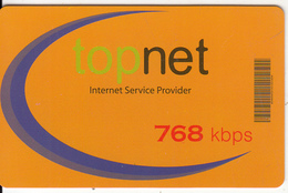 ALBANIA - TopNet Internet Prepaid Card 1month(768 Kbps), Tirage 1000, Sample