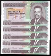 Burundi 100 FRANCS 2010 P 44a UNC LOT X 5 PCS - Burundi