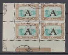 Colombia Mi# 578 Used Corner Block Of 4  5 Peso Airmail AVIANCA Overprint 1950 - Colombia