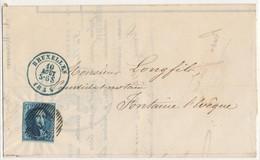 1855 BRIF MET OBP6 VAN BRUXELLESP24 NAAR FONTAINE L'EVEQUE AANKOMSTSTEMPEL - 1869-1883 Léopold II