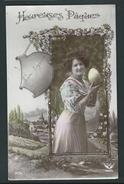 Heureuses Pâques. Photo Montage. Paysage, Jolie Femme, Oeuf De Pâque. Série 305 - Pâques