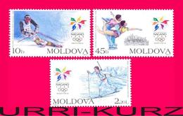 MOLDOVA 1998 Sports XVIII Winter Olympics Olympic Games Nagano Japan Slalom Figure Skating Skiing 3v Mi263-265 Sc263-265 - Hiver 1998: Nagano