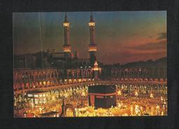 Saudi Arabia Picture Postcard Night Aerial View Holy Mosque Ka´aba Mecca Islamic View Card - Saudi Arabia
