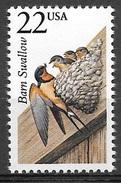 1987 22 Cents Wildlife - Barn Swallow - Mint Never Hinged - Etats-Unis