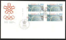 Canada Sc# 1077 FDC Inscription Block 1986 02.13 1988 Olympics - First Day Covers