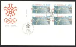 Canada Sc# 1077 FDC Inscription Block 1986 02.13 1988 Olympics - 1981-1990