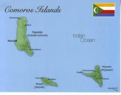 Map Of Comoros Island - Carte Géographique De L´ile Des Comores - Comores