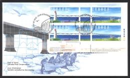 Canada Sc# 1645-1646 FDC Inscription Block 1997 05.31 Confederation Bridge - First Day Covers