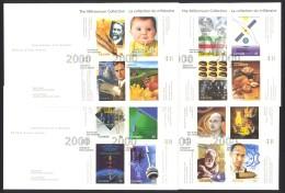 Canada Sc# 1831-1834 FDC Set/4 2000 03.17 Millennium Souvenir Sheets - Premiers Jours (FDC)