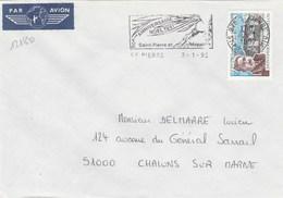 SAINT PIERRE ET MIQUELON YT 476 SEUL SUR LETTRE 3/1/92 POUR CHALONS SUR MARNE -  TDA167 - Lettres & Documents