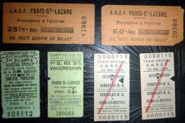 TICKETS  DE TRAIN SNCF LOT DE 6 TICKETS  ANCIENS  TRAIN SPECIAL REDUCTION SPECIALE LOT N°20 - Autres