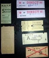 TICKETS  DE METRO ET TRAIN SNCF SPECIAUX  LOT DE 4 TICKETS  ANCIENS PTT RATVM? SERVICE SPECIAL    LOT N°21 - Autres