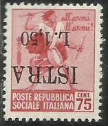 OCCUPAZIONE ISTRIA ISTRA 1945 LIRE 1,50 SU 75 CENT (n 499) MNH VARIETA´ CON SOPRASTAMPA CAPOVOLTA VARIETY FIRMATO SIGNED