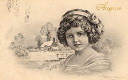 [DC9828] CPA - AUGURALE - FIRMATA DALL'ILLUSTRATORE MESCHINI - Viaggiata 1918 - Old Postcard - Illustrators & Photographers