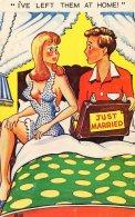 [DC9847] HUMOR - UMORISTICA - I'VE LEFT THEM AT HOME - JUST MARRIED - OGGI SPOSI - Viaggiata 1968 - Old Postcard - Humor