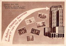 [DC9876] CPA - GENOVA - I° RADUNO FILATELICO GENOVESE OMAGGIO DITTA FRATELLI OLIVA - Viaggiata 1941 - Old Postcard - Borse E Saloni Del Collezionismo
