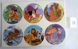 PLAQUE DE POG DISNEY PETER PAN BAMBI ROI LION CENDRILLON - 6 POGS - Disney