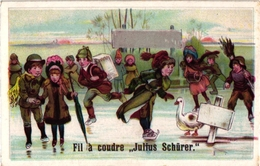 1 Card Ice-Skating Patinage Sur Glace Eislaufen PUB Fil A Coudre Julius SCHURER Calendar CALENDRIER 1900 - Sports D'hiver