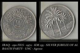 IRAQ - 250 FILS - 1972 - KM 135 - SILVER JUBILEE OF AL BAATH PARTY - UNC - Agouz - Iraq