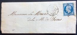 PP94 Paris Étoile Pleine + 1330 Route 6 Lyon 1er Dép CHEMIN DE FER DE PARIS DÉTAXE N°14 Couleur 15/4/1855 - 1849-1876: Classic Period