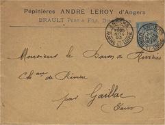 1893- Enveloppe à En-tête  Affr. 15 C Sage Oblit. DAGUIN Jumelé  D' ANGERS / MAINE-ET-LOIRE - Annullamenti Meccaniche (Varie)