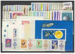 HUNGARY 1965 Full Year 99 Stamps + 7 S/s - Hongarije