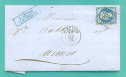 M10 : TAD CONVOYEUR AMBULANT LYON A MARSEILLE + MAI 1862 + TAD NIMES + TAD LOSANGE PC 3053 ST ETIENNE SUR NAPOLEON 14 - Postmark Collection (Covers)