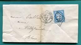 M19  CERES  BLEU 25 C TAD CHALON SUR SAONE 7 MAI 1872 GC 842 + TAD BUREAU DE PASSE 1307 - Postmark Collection (Covers)
