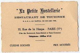 VP9526 - CDV - Carte De Visite - ¨ LA PETITE HOSTELLERIE ¨ Restaurant De Tourisme à PARIS Rue De La Harpe - Visiting Cards