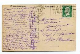 M24 : FLAMME TEMPORAIRE : FLIER  VILLE D AVIGNON FOIRE ANNUELLE DE PRINTEMPS FIN AVRIL DEBUT MAI 1925 SUR PASTEUR 171 - Marcophilie (Lettres)