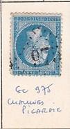 SOMME - S/22 - 20c Bleu Foncé - Napoleon III - Oblit   GC 975  (  Chaulnes - Picardie ) - Marcophilie (Timbres Détachés)